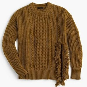 J. Crew Cable Knit Fringe Sweater M